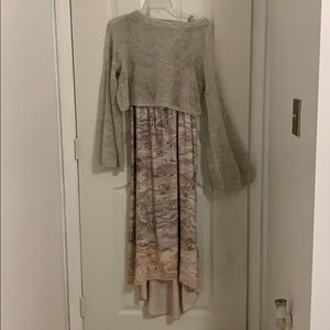 Sleeping on snow Anthropologie dress with sweater